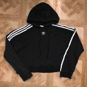 Adidas Cropped 3 Stripe Hoodie